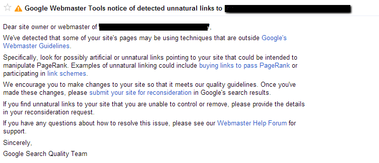 WMT notice of unnatural links