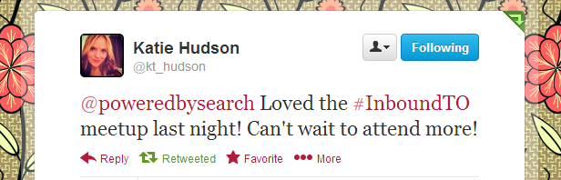 Katie Hudson, #InboundTO feedback
