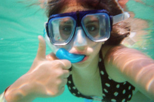 Thumbs up underwater