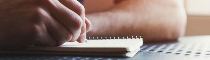 Man writing web copy