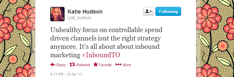 Katie Hudson's feedback regarding Inbound Marketing Toronto meetup 4