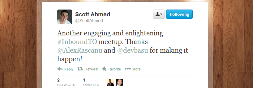 Scott Ahmed's feedback regarding Inbound Marketing Toronto meetup 4