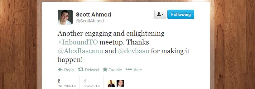 Scott Ahmed's feedback regarding Inbound Marketing Toronto meetup 4