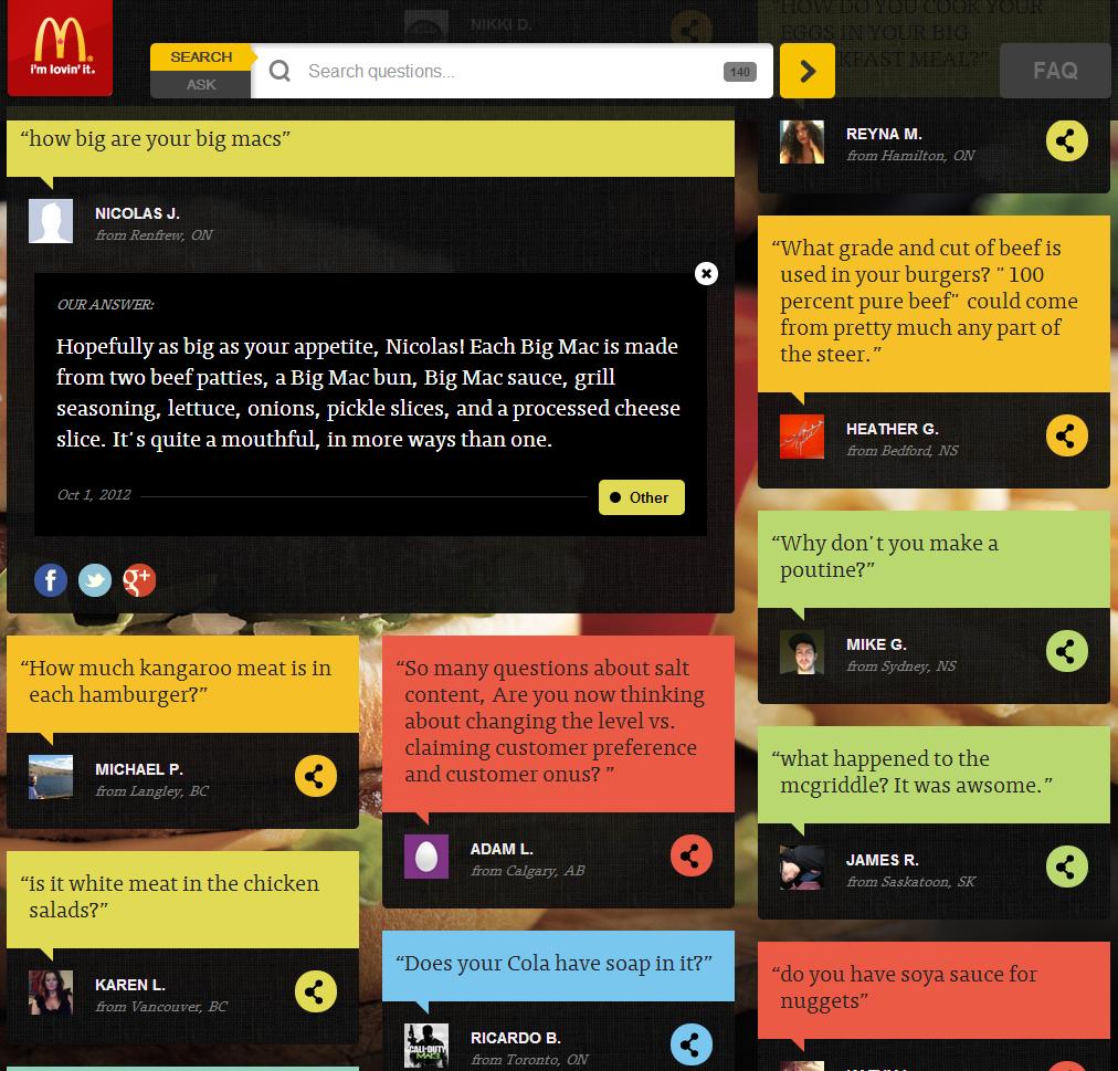 McDonald's Q&A Page