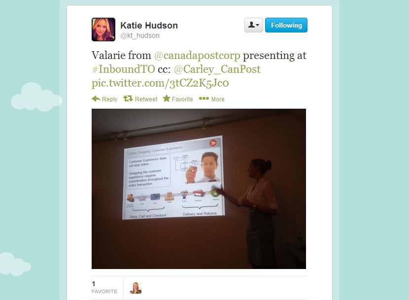 Inbound Marketing Toronto 6 - tweet by Katie Hudson