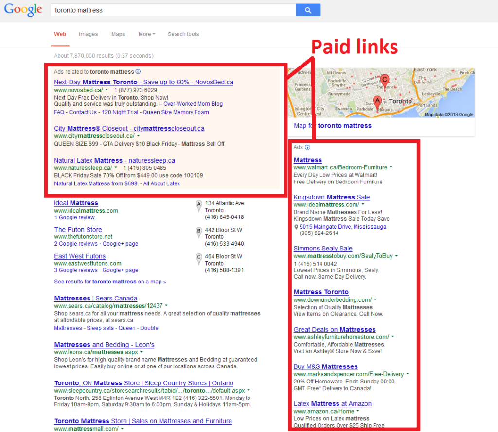 Paid links on google
