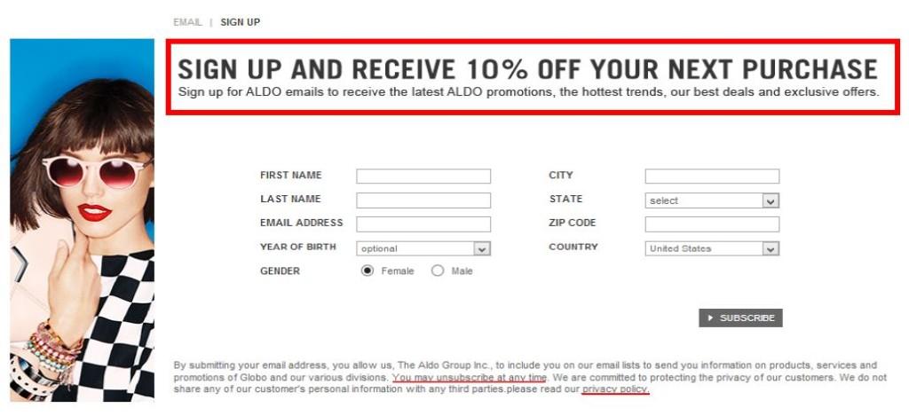 aldo's enticing email signup offer