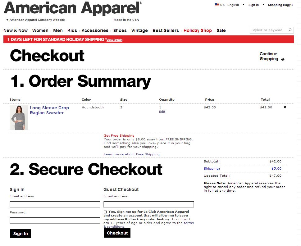 American Apparel sign up at checkout