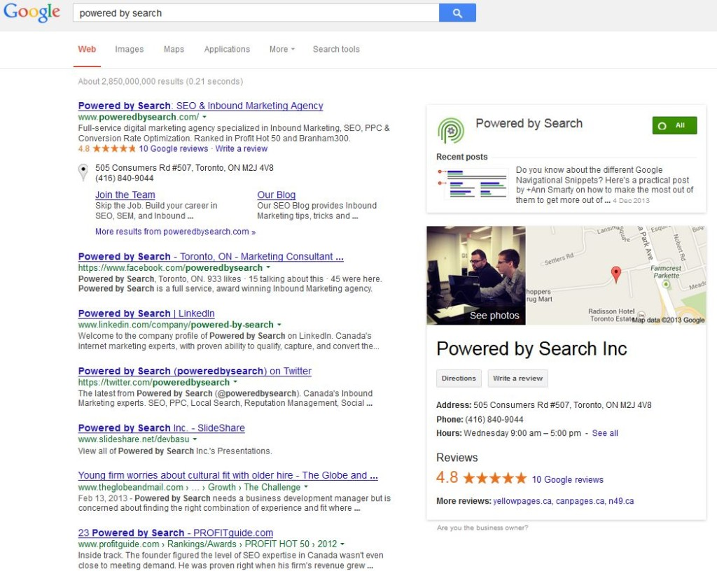 get your business shown in google search results
