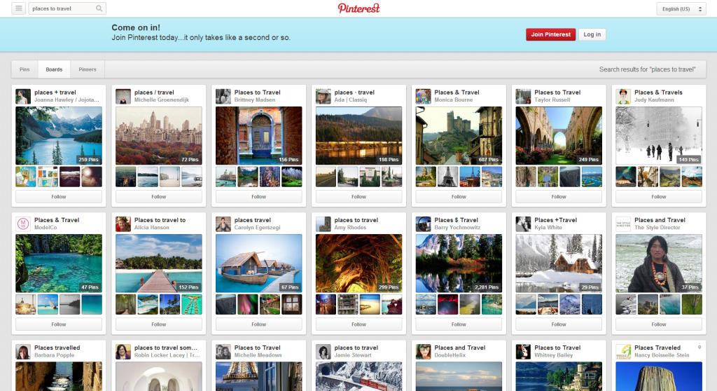 places to travel Pinterest board
