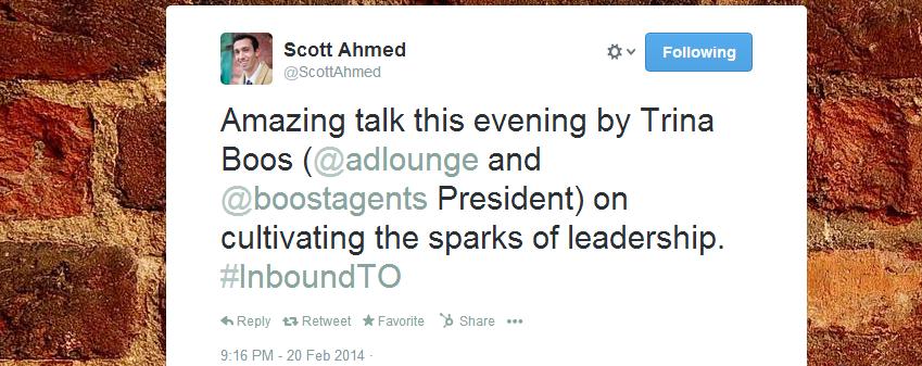 Trina Boos amazing talk tweet at InboundTO