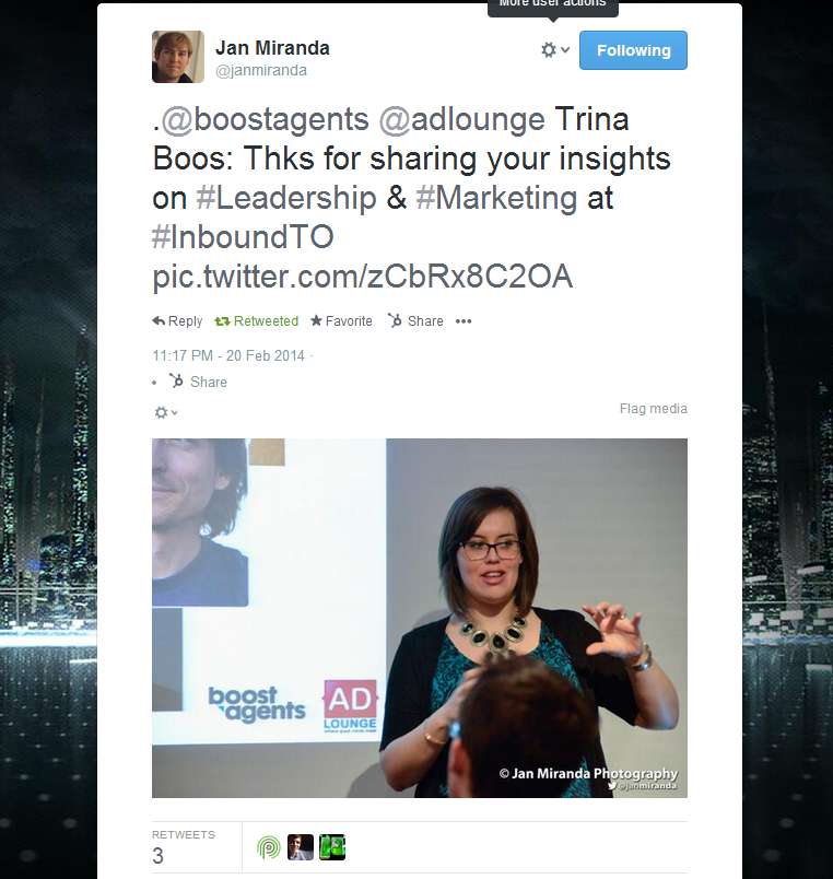 Trina Boos leadership in marketing tweet at InboundTO