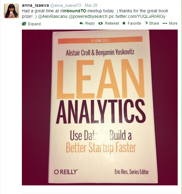 Anna Isaeva won Lean Analytics at #InboundTO