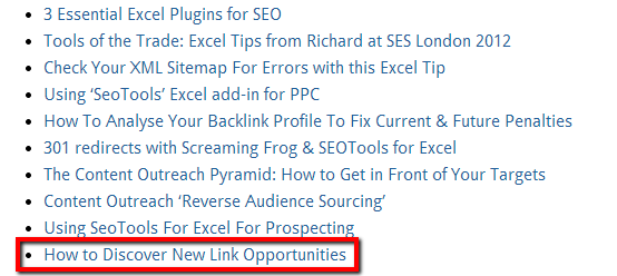 How to discover new link opportunities example