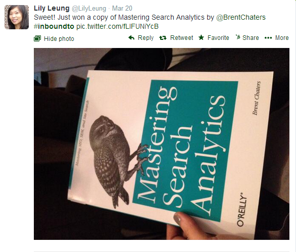 Lily Leung won Mastering Search Analytics at #InboundTO