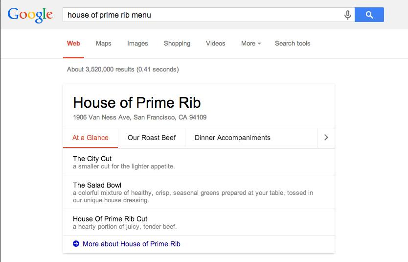 House of Prime Rib Google Restaurant Menu