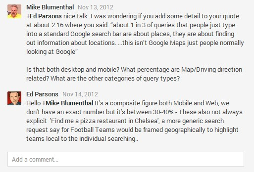 Goolge+ Conversation between Ed Parsons and Mike Blumenthal on the distinction between implicit and explicit searches