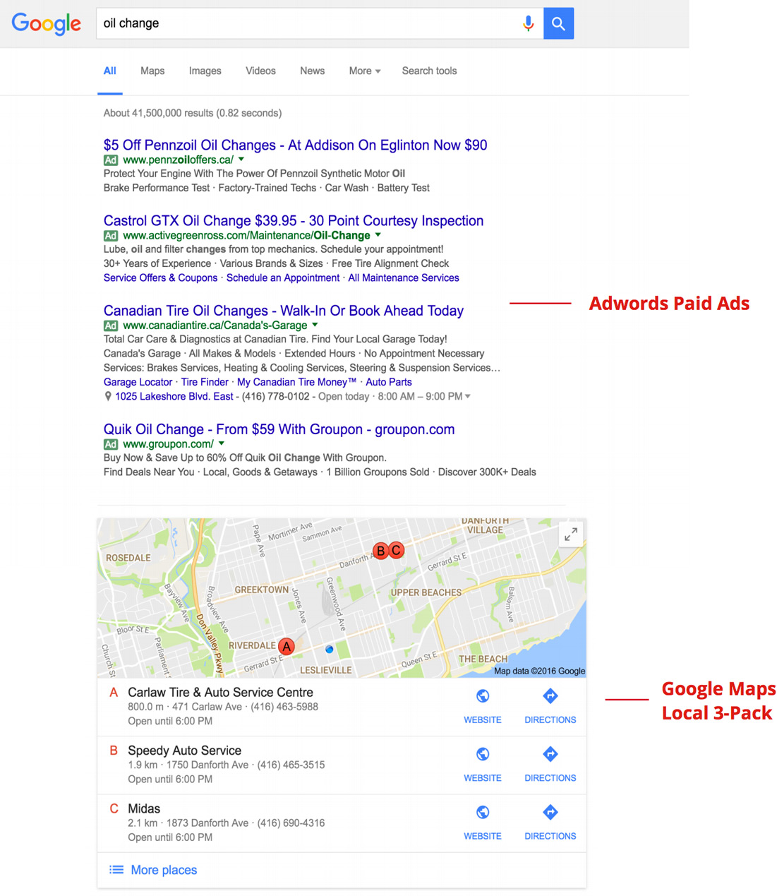 paid and local 3-pack search results