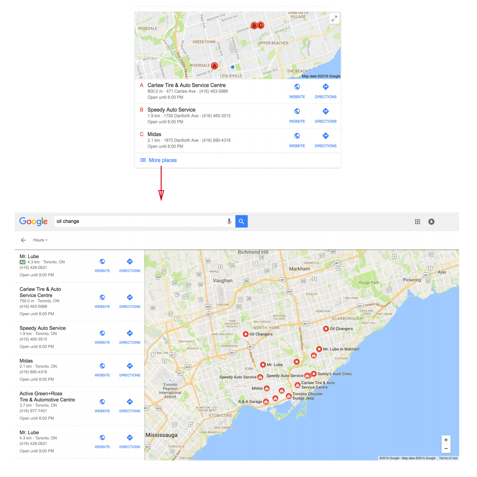 map listings search results