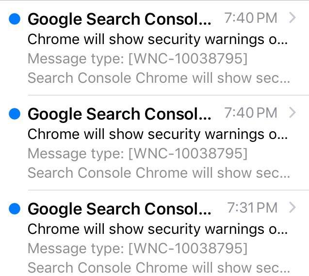 google security warning messages
