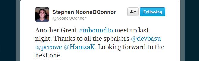 Stephen O`Connor, Inbound Marketing Toronto meetup feedback