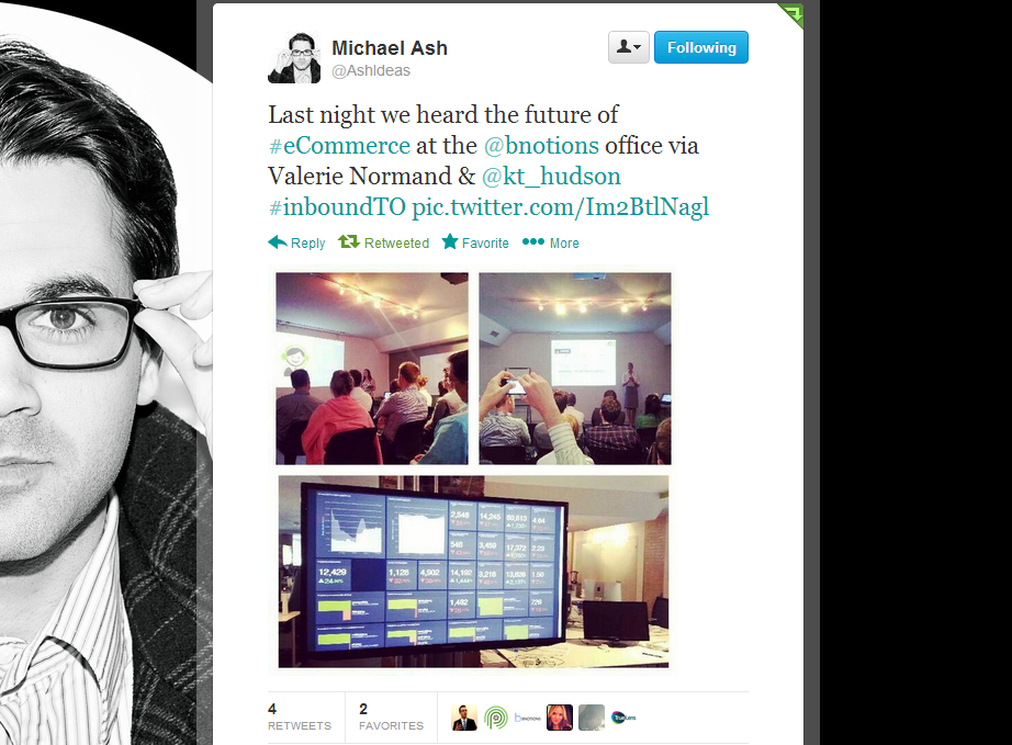 Inbound Marketing Toronto 6 - tweet by Michael Ash