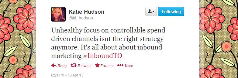 Katie Hudson's feedback regarding Inbound Marketing Toronto meetup 4