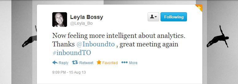 Leyla Bossy Inbound Marketing Toronto tweet