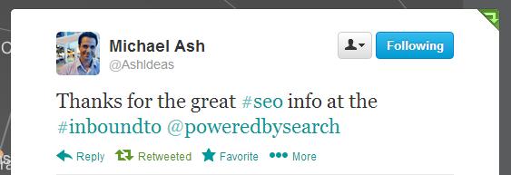Michael Ash, #InboundTO feedback