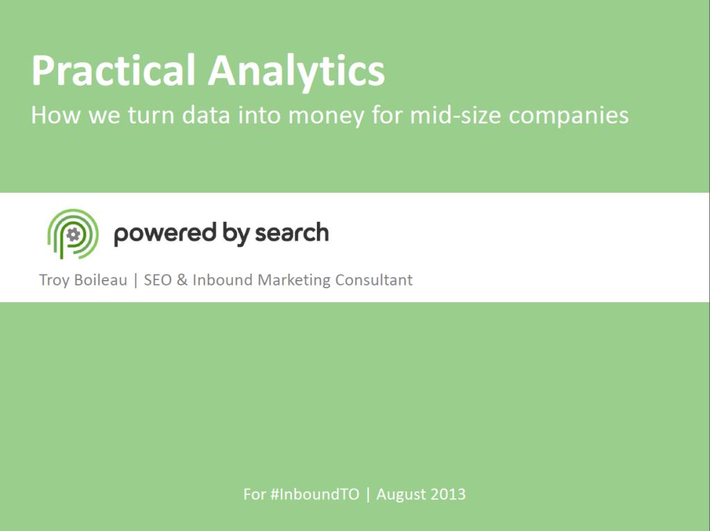 Practical Analytics presentation
