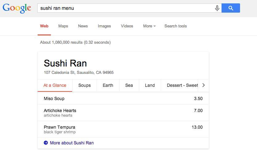 Sushi Ran Google Restaurant Menu