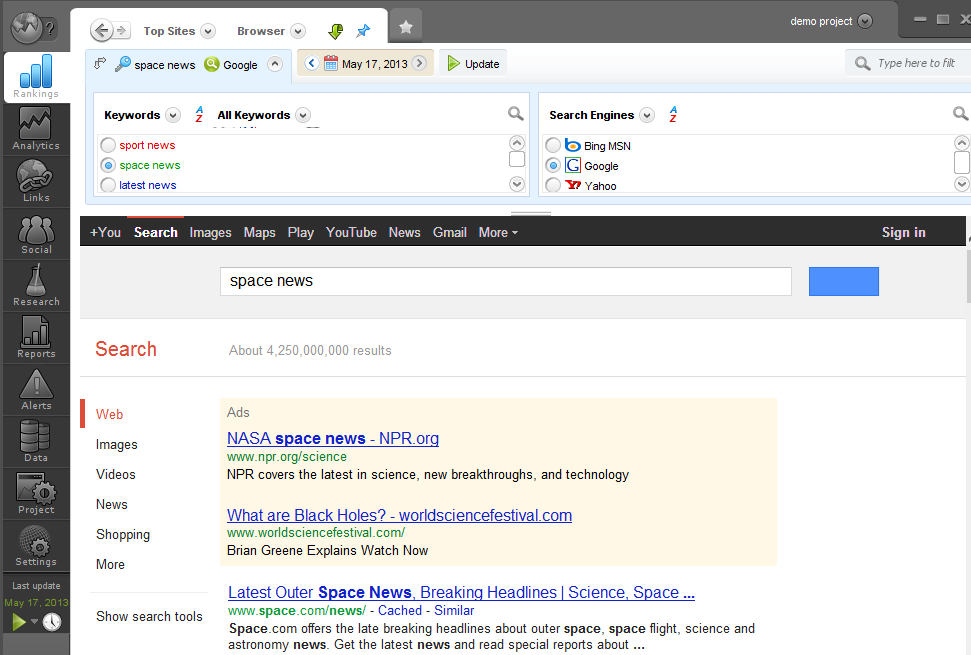 Store Top Sites SERPs