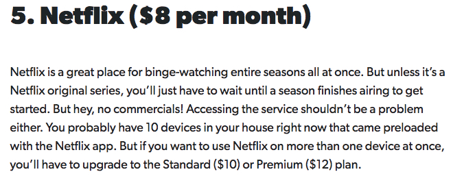 price of netflix per month and why its a good alternative to cable