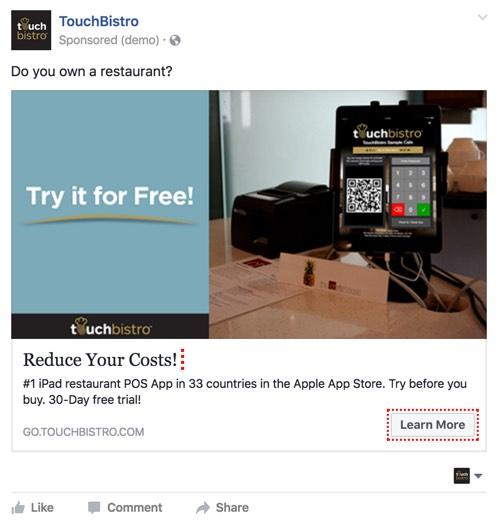 """A photo of TouchBistros old Facebook ad that was targeted to restaurant owners instead of the staff. It reads: """"Do you own a restaurant?"""""""