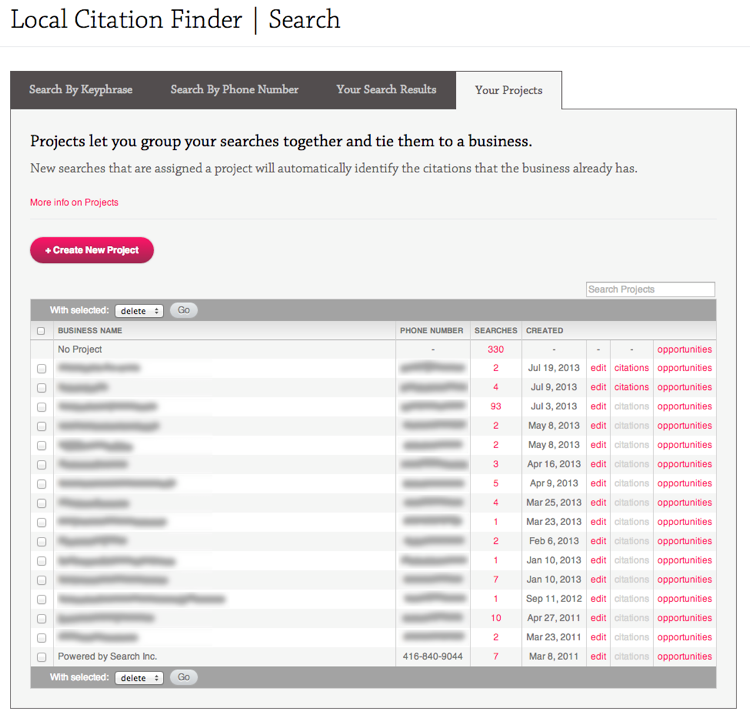 Local Citation Finder Projects