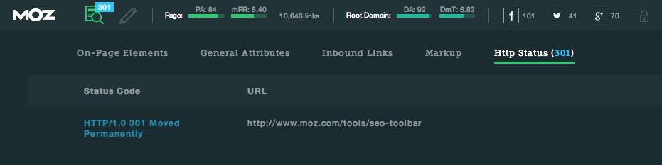 mozbar v3 http status
