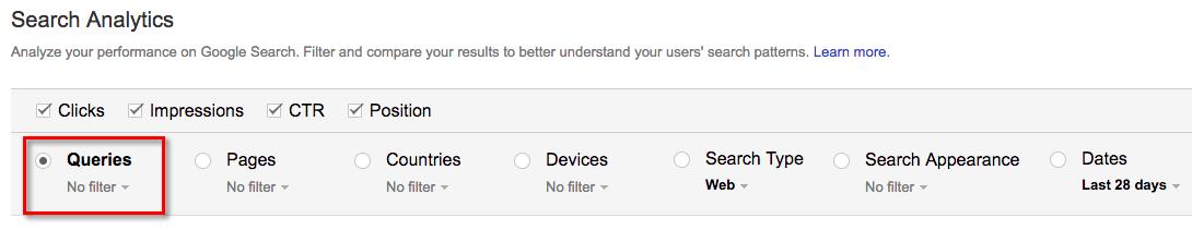 google search analytics screen