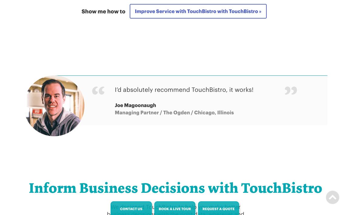An example of a testimonial on TouchBistro's site