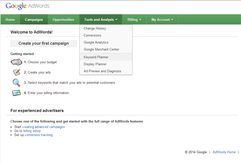 use google adwords keyword planner for keyword research