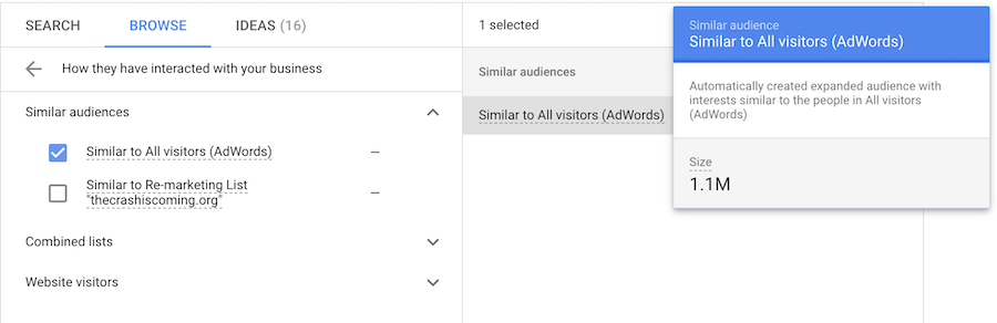 Screenshot from Google Ads showing process of creating a similar audience using the customer match feature.