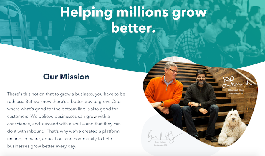 HubSpot's website has a meaningful mission.