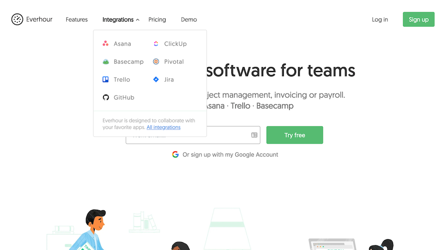 Everhour homepage: Integrations are a key selling point for Everhour, since it needs to be plugged into a project management tool.