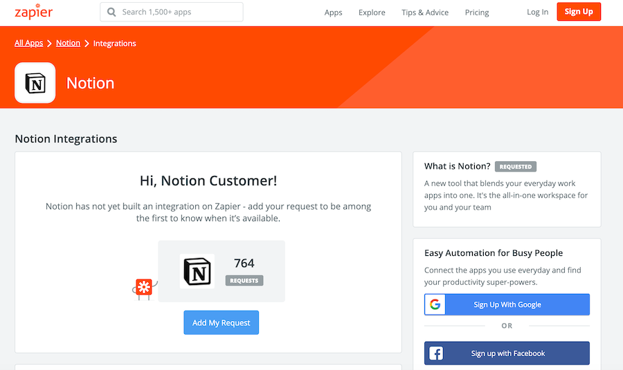 Zapier puts themselves on the map for multiple integrations, whether or not they exist yet.