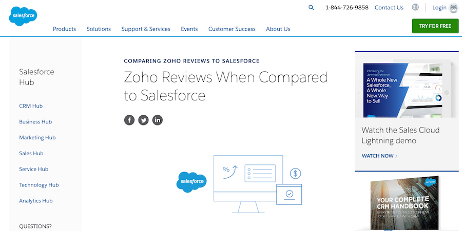 """Salesforce offers reviews and comparisons about their competitors on their site; as shown in the screenshot with """"Zoho""""."""