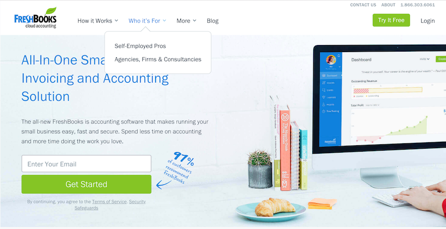 FreshBooks Homepage: Who It's For