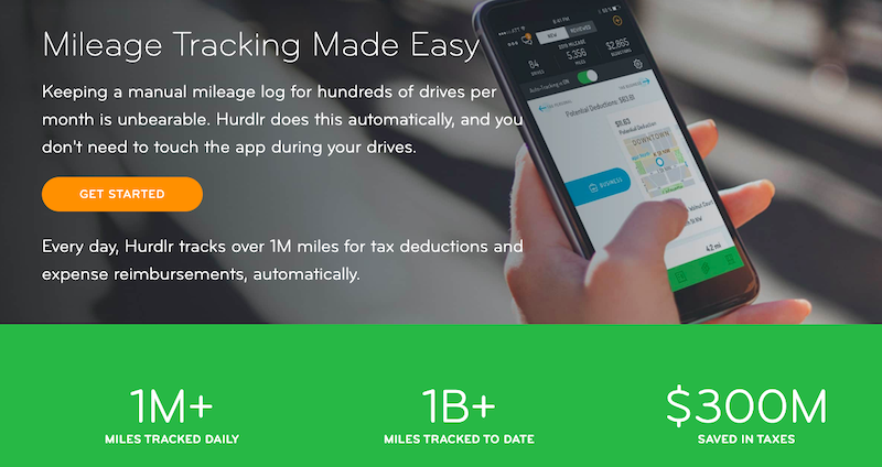 Hurdlr's website: Mileage Tracking Made Easy