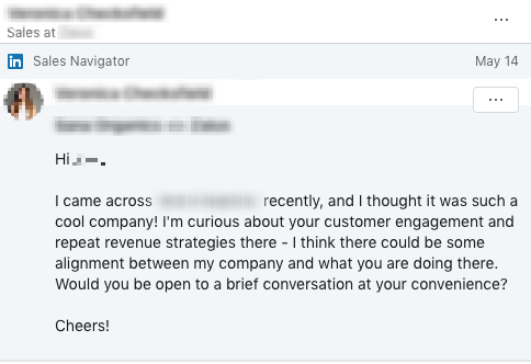 LinkedIn Inmail Ad: A spammy example of what not to send.