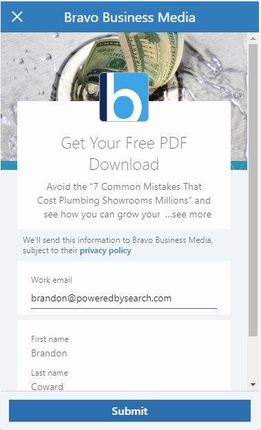 "Lead Ad form example of a LinkedIn ad for B2B SaaS: ""Get Your Free PDF Download"""