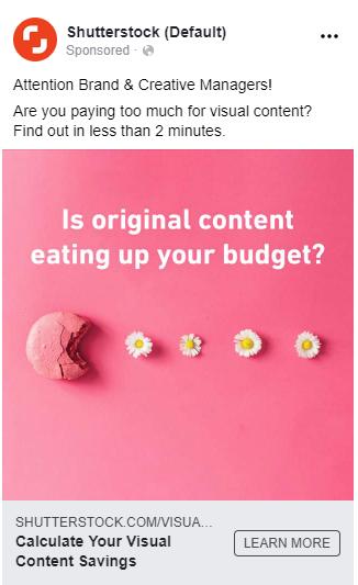 Shutterstock Facebook Ad example.