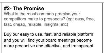Step #2: The Promise section of SaaS Positioning Canvas by Powered By Search - What is the most common promise your competitors make to prospects?